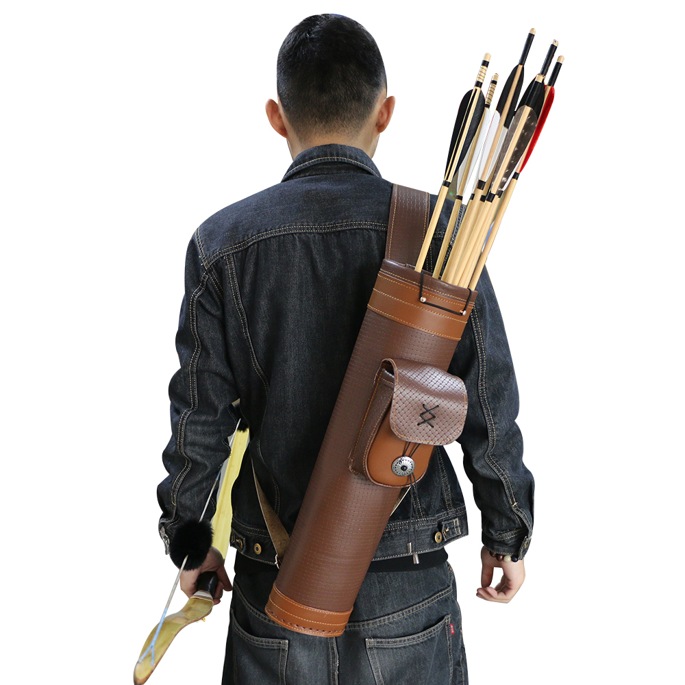 2018 New Arrival Leather Arrow Quiver Bag Archery Shooting Hunting Accessories Riding Brown For Bow Arrows Holder 52cm Shoulder dmar archery quiver recurve bow bag arrow holder black high class portable hunting achery accessories