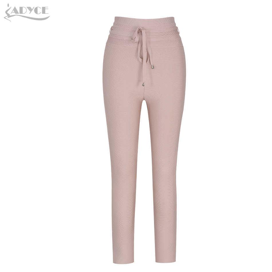 ADYCE 2019 新夏の鉛筆のズボン女性のセクシーなスキニーパンツハイウエストヌードベルトズボンパーティーボディコンロング包帯パーティーパンツ