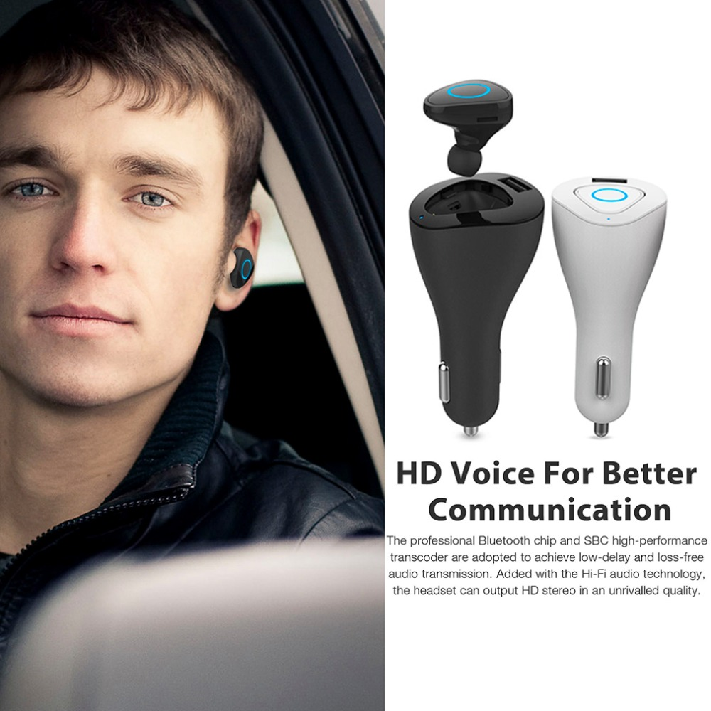 ONLENY Wireless Bluetooth Headset with Car Charger 2 in 1 Driver Bluetooth V4.0 Earphone with Mic Noise-canceling Supports Music remax 2 in1 mini bluetooth 4 0 headphones usb car charger dock wireless car headset bluetooth earphone for iphone 7 6s android