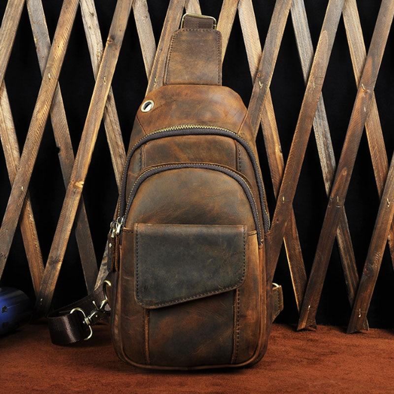 Vintage Crazy Horse Genuine Leather Men Chest Bag Small Messenger Shoulder Bag Male Handmade Cowhide Leather