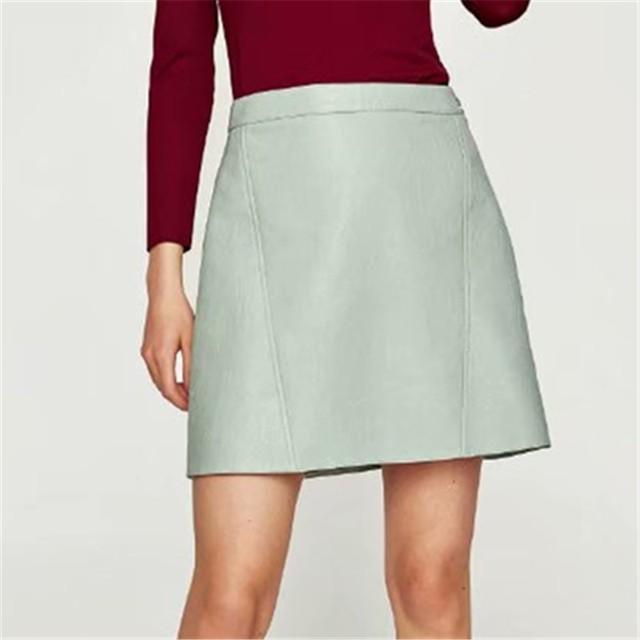 winter high waist Skrit PU faux leather pink yellow black green blue mini skirt