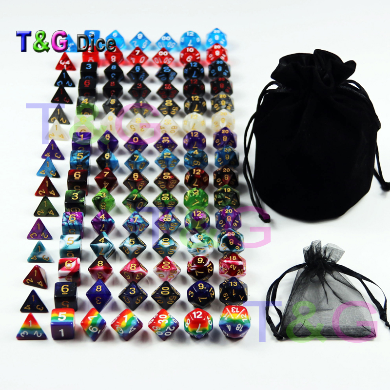 105 Colorful Dice with Black Bag T G Rainbow 15 complete sets of D4 D6 D8