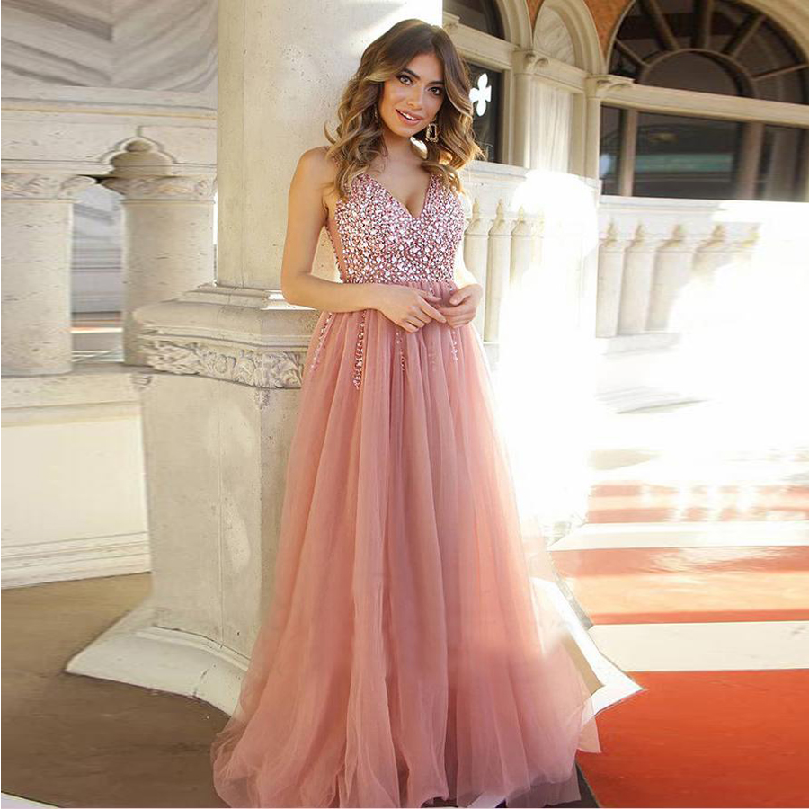 Chic Blush Pink V neck Long   Prom     Dresses   With Rhinestone A-line Backless Beautiful Evening   Dresses   Party   Dress