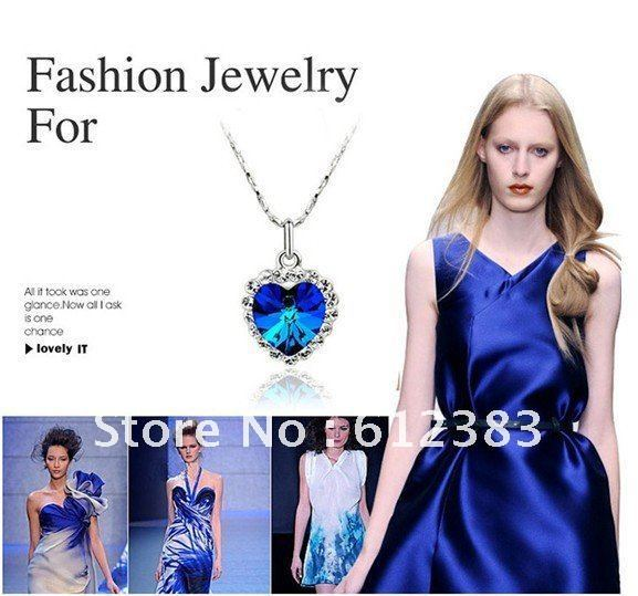 Min.order is 5pcs (mix order)Fashion The Heart Of The Ocean Pendant  Necklace Sea Austrian Crystal Necklace For Wedding Jewelry