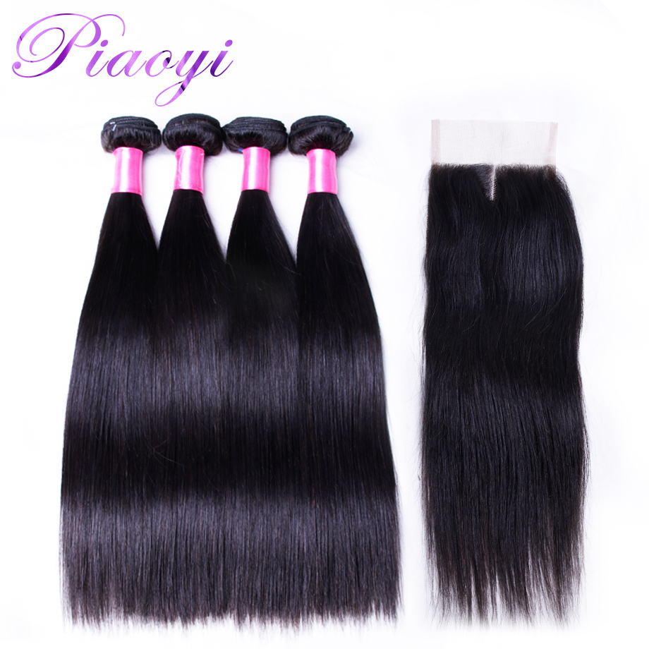 Peruvian Straight Human Hair 4 Bundles With Closure Piaoyi Non- Remy Human Hair Weave Bundles With Middle Part 4x4 Lace Closure