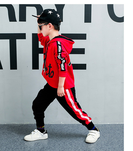 For 6 8 10 12 14 Years Children's sets Autumn boys fashion long sleeve hooded Hoodies + Haren Sweatpants vetement garcon outfits 2