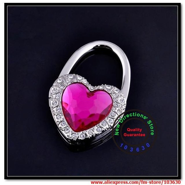 Free shipping !!! 100% guarantee quality/love lock heart shape handbag holder each in a velvet pouch