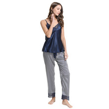 Herislim lSexy Summer Sleepwear Women Pajama Sets Lace Trim Sleeveless V-Neck Striped Cami and Pants 2Pcs Pijamas Home Clothes