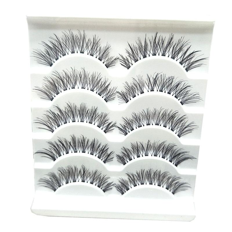 5 Pairs/set Natural Black Long Cross False Fake Eyelashes Makeup Accessories Eyelash Extension Kits Cilios Posticos