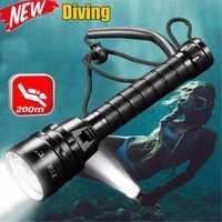 40000 люменов фонарик для дайвинга 3T6 5L2 5UV 200 м подводный фонарь для дайвинга IPX-8 водонепроницаемый фонарь для дайвинга с использованием 18650