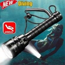 Linterna de buceo profesional, resistente al agua, 3T6 5L2 5UV 200m, antorcha de buceo subacuático, IPX 8, luz de buceo con 18650