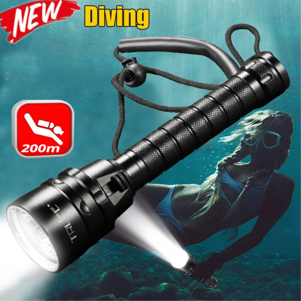 Professional Waterproof Diving Flashlight Torch 3T6 5L2 5UV 200m Underwater Scuba Diving Torch IPX-8 Dive Light Using 18650