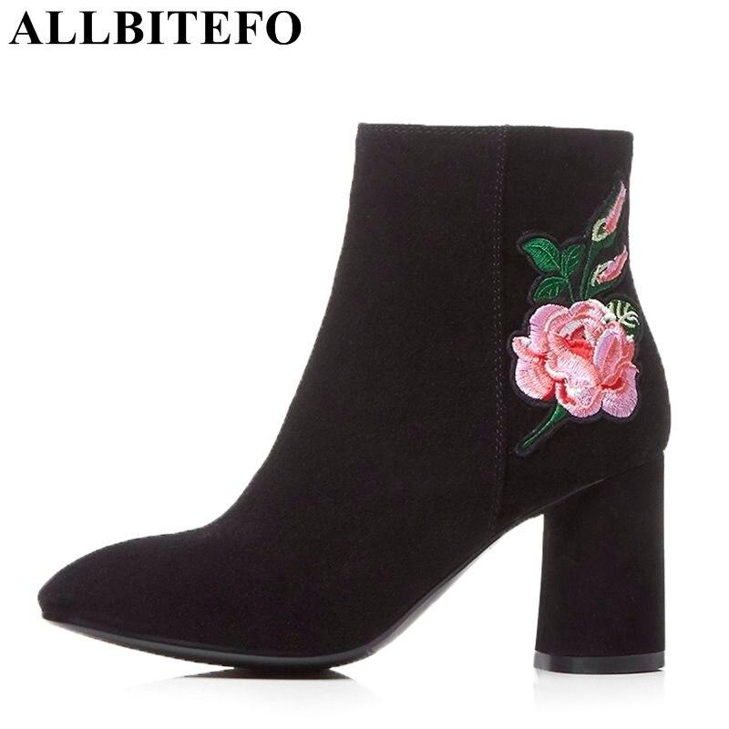 Allbitefo Starke Ferse Volles Echtes Leder Karree Marke High Heels Frauen Schuhe Hohe Qualität Büro Damen Schuhe Frauen Heels Frauen Schuhe