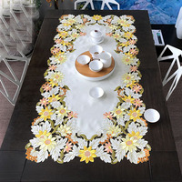 European style Chinese style embroidered tablecloth, tea tablecloth, golden sunflower rectangle
