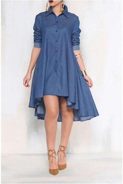 summer 2018 fashion Occident dress Woman Casual Asymmetrical Hem Long Sleeve Shirt style Denim Dress vestido vintage sukienka
