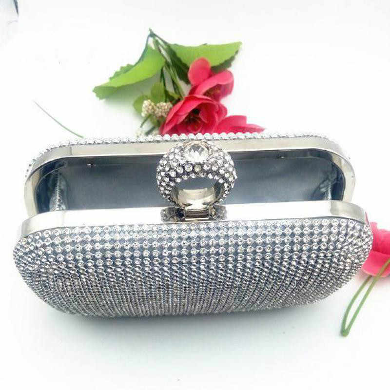 Rhinestones Handbags Women Evening Bags Finger Rings Diamonds Purse Clutche Bags One Side Lady Handbags For Wedding A740