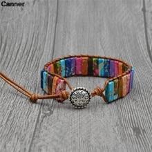 цена на Canner Colorful Natural Stone Leather Bracelet Women Girl Boho Handmade Braid Charm Bracelets Party Birthday Jewelry Dropship C3