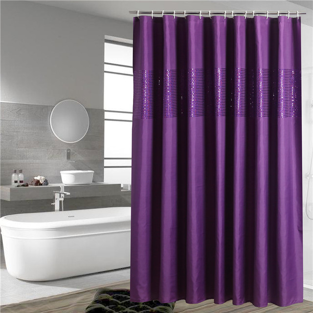 solid purple color shower curtain living room curtains bath ...