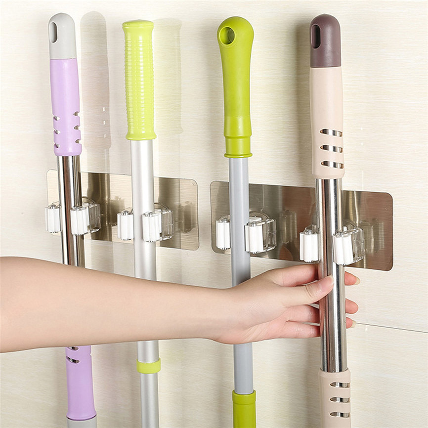 Wall Mounted Mop Broom Holder With Hanging Pipe Hooks Used As Kitchen Tool