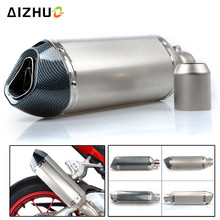 36-51MM Motorcycle Exhaust Muffle Pipe Stainless Steel Exhaust Pipe FOR KAWASAKI ZXR400 ZZR600 Z1000 ZX10R W800 Z750S ZX-6 ZX9R все цены