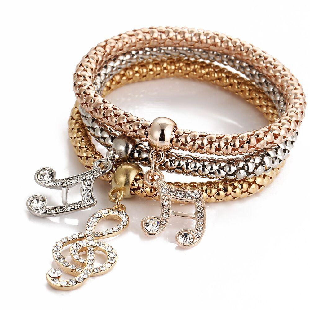 Jewelry & Accessories Flight Tracker Fashion Anchor Bracelet For Women Elegant Elastic Popcorn Chain Crystal Gold Silver Bracelet 2019 Fashion Jewelry Gift New 3pcs