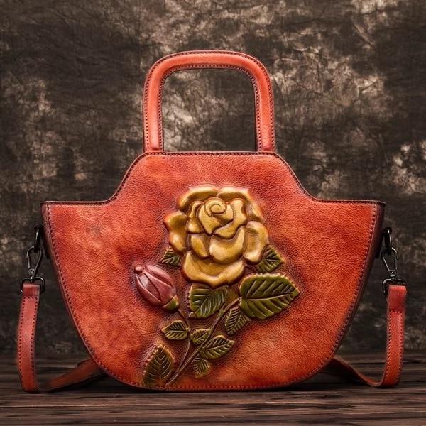 En Cuir Lady À Vintage Main Épaule Femelle Femme Fleur Rose Véritable Seule bourgogne Sac Fermeture Floral Glissière camel vert Bourse Ardoisé Designer Relief rwqI8r