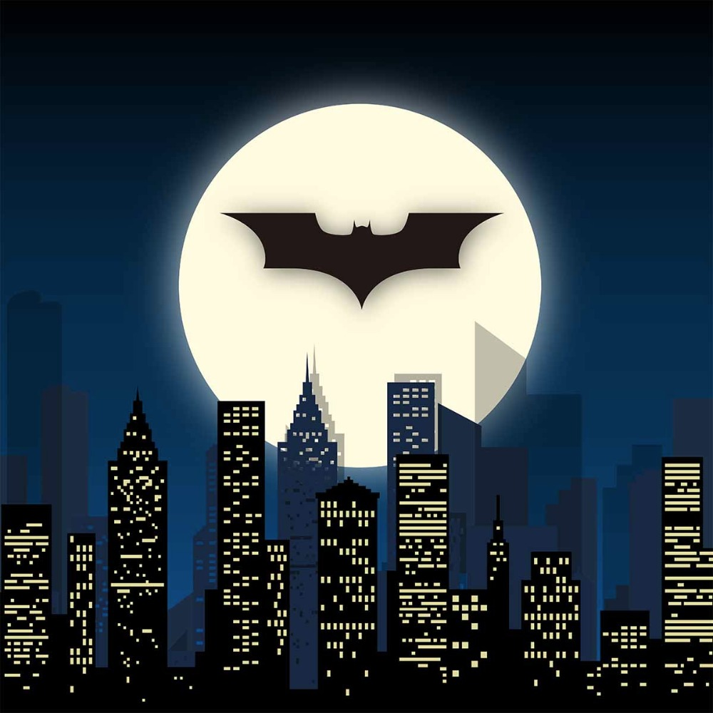 Allenjoy photography backdrop Super Hero City Night Moon Bat Children Party Background decoration photocall for photography