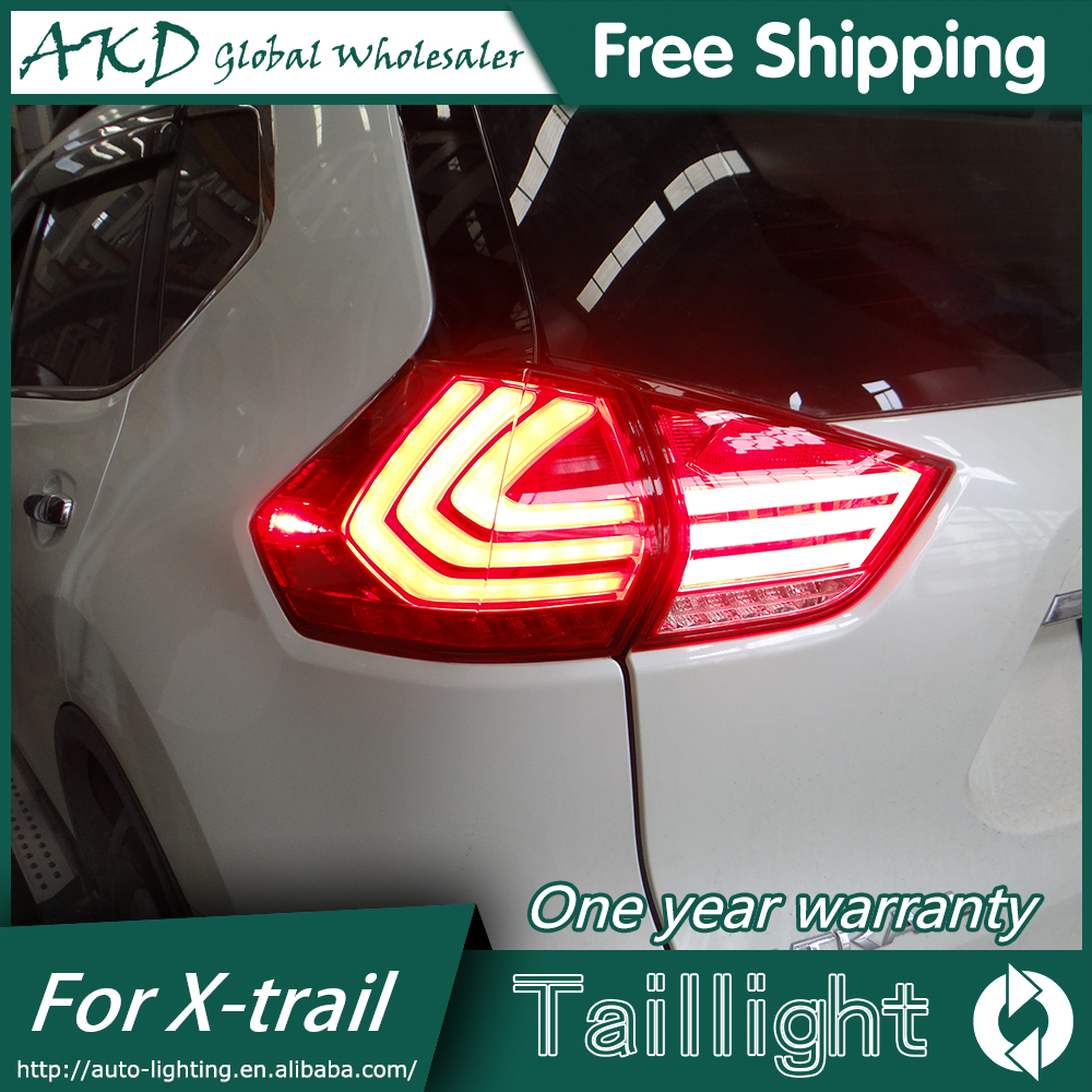 AKD Car Styling for Nissan X-trail Tail Lights 2014-2015 New Rouge LED Tail Light Rear Lamp DRL+Brake+Park+Signal
