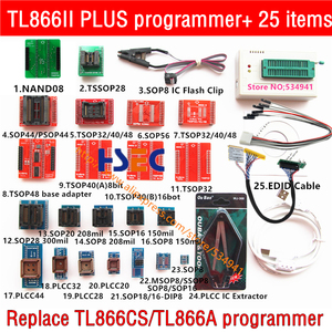 Image 1 - XGecu TL866II בתוספת אוניברסלי מתכנת + 25 מתאמים + NAND TSOP48 מתאם + SOP8 מבחן קליפ minipro TL866CS TL866A EPROM TL866 פלאש