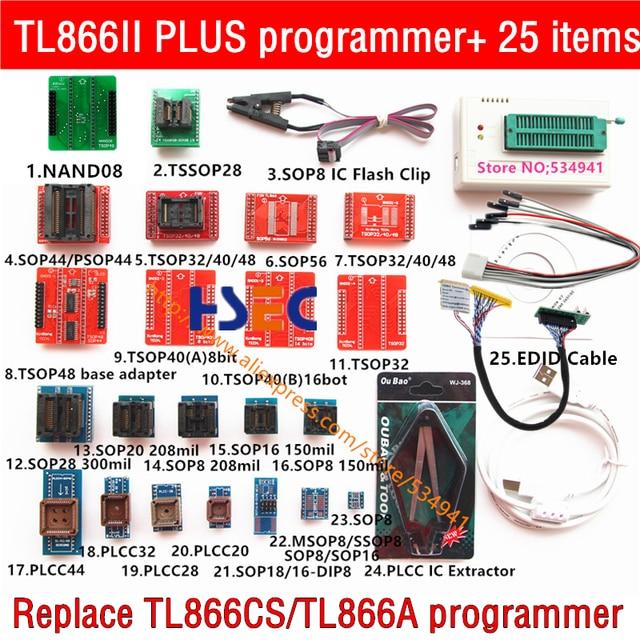 XGecu TL866II בתוספת אוניברסלי מתכנת + 25 מתאמים + NAND TSOP48 מתאם + SOP8 מבחן קליפ minipro TL866CS TL866A EPROM TL866 פלאש