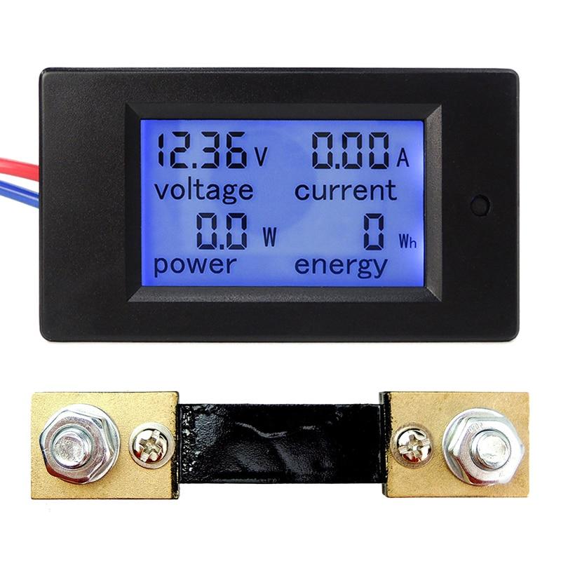 DC 65-100V 0-100A LCD Display Digital Current Voltage Power Energy Meter Multimeter Ammeter Voltmeter w 100A Current Shunt