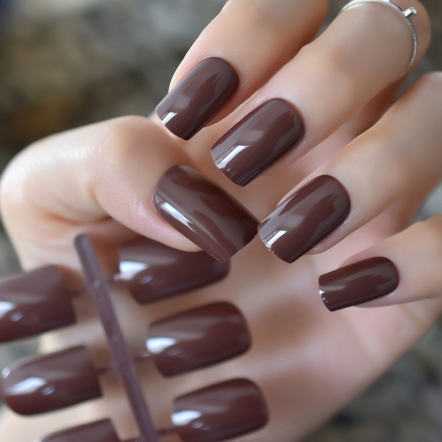 Uv Gel Square Faux Ongles Dark Chocolate Brown Medium Long False Nails Cool Diy Manicure