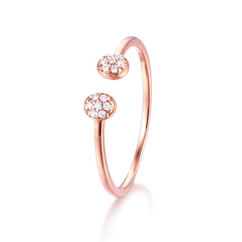 Elegant Double Crystal Balls 18K Pure Gold Rose Gold/ Gold/ White 3 Colors Adjustable Size Open Ring 0.89G linvel lv 8837 3 gold white