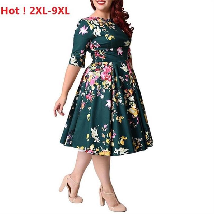Chaude Femmes Robe Vintage Fermeture À Glissière Imprimé Floral Tunique Grande Balançoire Robe grande taille Robes Pour Femmes 2XL-9XL Robes De Dames De Mode