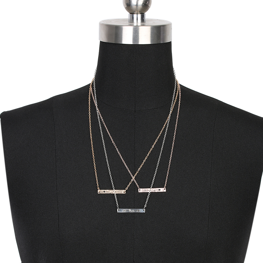 1 Pc Fashion Women Minimalist Bar Pendant Necklace Love Arrow Printed Skinny Necklace