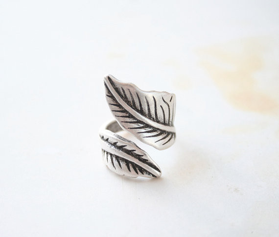 Chandler Angel Feather Finger Leaf Rings For Women Leaves Shape Design Personality Antique Silver Jewelry Retro Open Accessaries