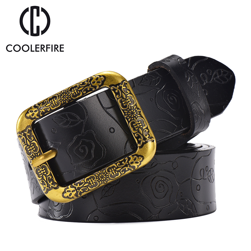 Hot Sale New Fashion Wide Genuine Leather Women's Belt Vintage Floral Cow Skin Belts Women  Quality Strap Female For JeansWH008