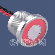ONPOW 22mm 12V Red Large Ring illuminated aluminium anodized Piezo Switch (PS225P10YNT1R12L) CE,RoHS