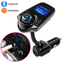 Hot Sale Bluetooth Car Kit Handsfree Set FM Transmitter MP3 music Player 5V 2.1A USB Car charger, Support Micro SD Card 1G-32G