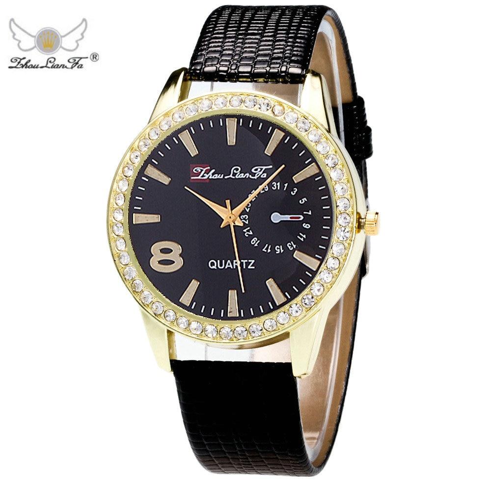 Zhou Lian Fa Wrist Watch Women Rhinestone Watch Casual Sport Quartz Watch Relogio Feminino Leather Strap Unisex WristWatch