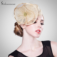 Sedancasesa Wedding Fascinator Cocktail Hats For Women Formal Sinamay Hat Ladies Party Church Hat Girl Accessories Free Size