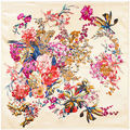 90x90 boho Flower pattern print silk satin scarves  for women Russian shawl Arab hijab head square scarf with Clothing A324