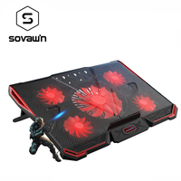 CoolCold Notebook PC Cooler Laptop Cooling Pad Air Cooled Five LED Fans 2 USB Ports Adjustable