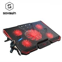 Notebook Pc Cooler Laptop Cooling Pad Stand Luchtgekoelde 5 Led Fans 2 Usb poorten Verstelbare Houder Voor 15 15.6 17 Laptop