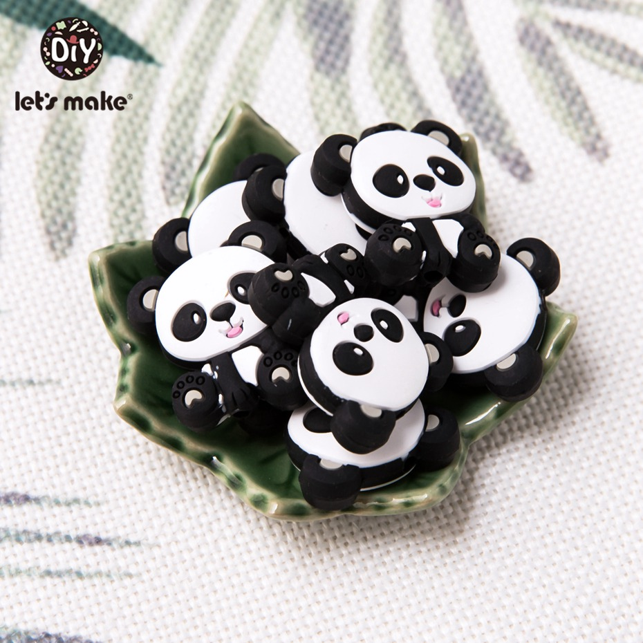 Let'S Make 50Pcs Silicone Baby Teether Mini Panda Tiny Rod Food Grade Meterial Silicone Teething Beads Kids Toy Baby Accessories
