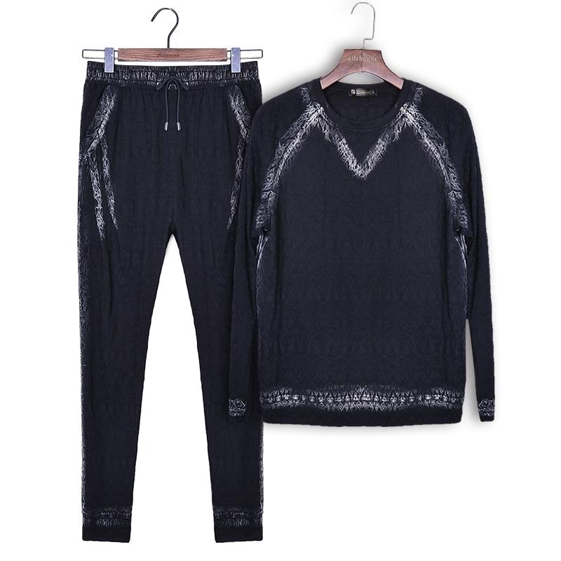 Fanzhuan Free Shipping New Fashion Casual 2017 Male Men's Autumn Long Sleeved T Shirt Pants Trousers 2 Piece Set 711093 Black