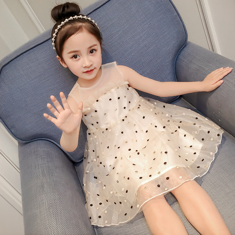 2018 New Style Cute Summer Fashion Girl Print Flower Dress For Wedding Girls Party Dress Lace Dot Sleeveless Voile Causal Sunny