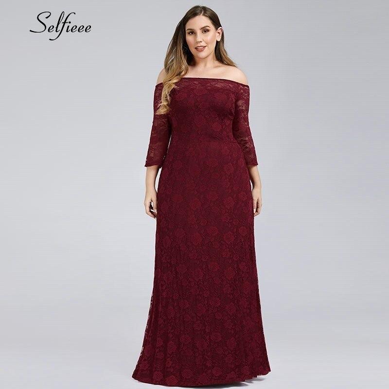 Burgundy Mother Of The Bride Dresses A-Line Off The Shoulder 3/4 Sleeve Farsali Elegant Lace Mother Dresses Vestido De Madrinha