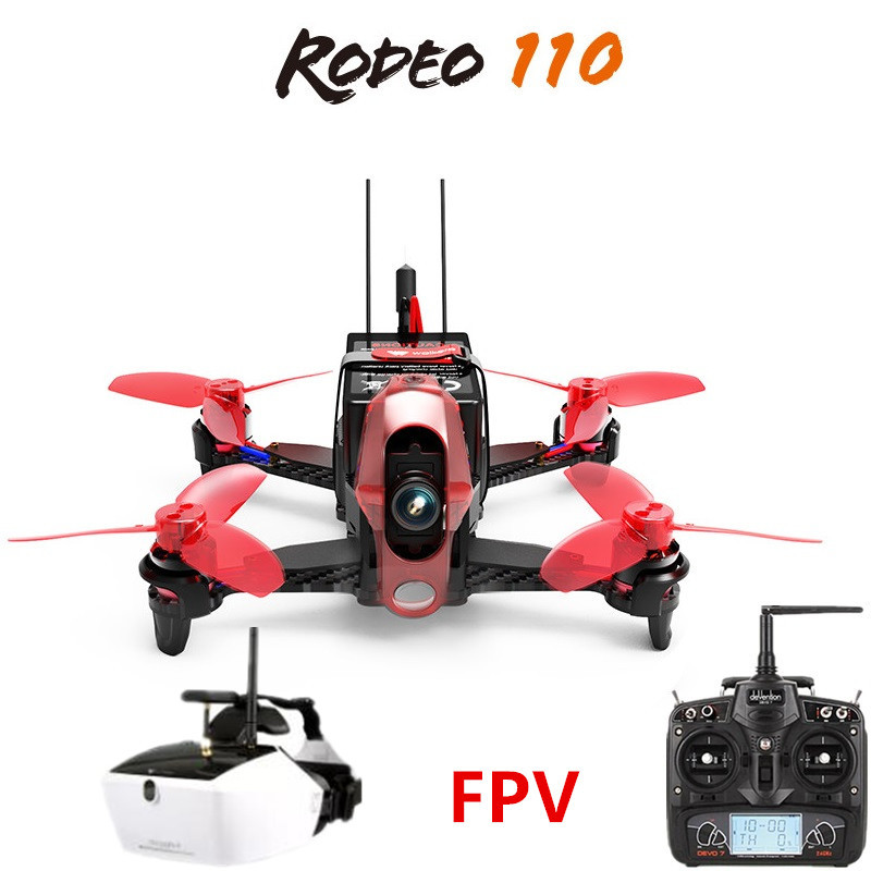 Walkera Rodeo 110 + DEVO 7 Remote Control + Goggle 4 FPV Glasses RC Racing Drone FPV Quadcopter RTF (600TVL Camera Included ) original walkera devo f12e fpv 12ch rc transimitter 5 8g 32ch telemetry with lcd screen for walkera tali h500 muticopter drone