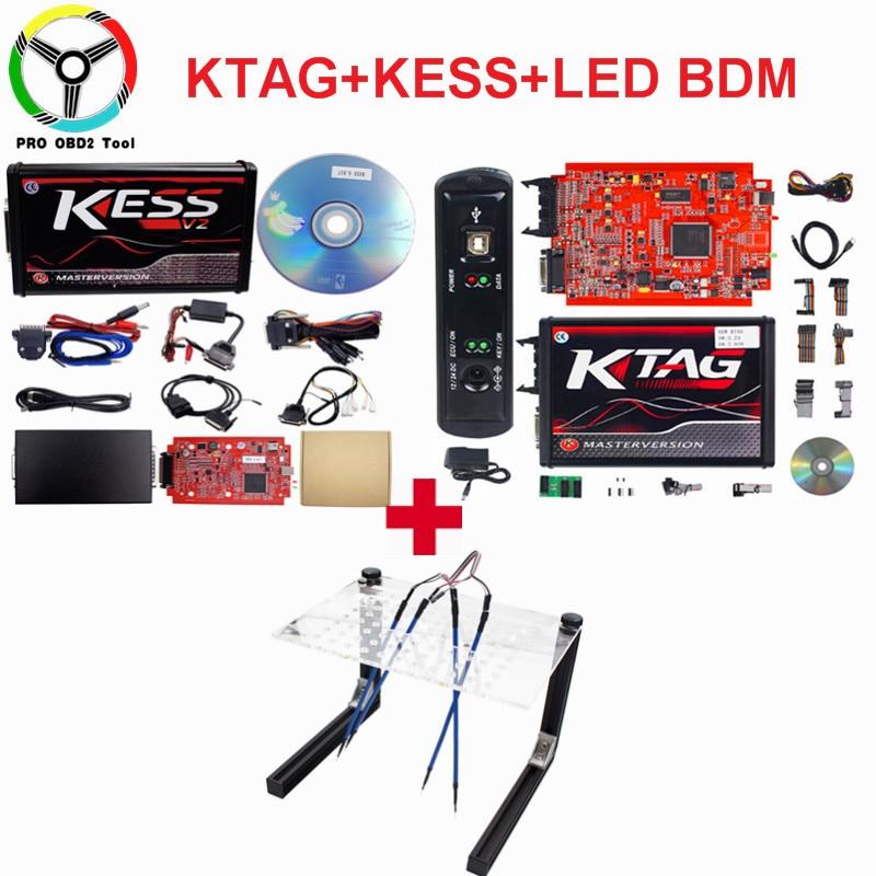 Online KESS V2 V5.017 Red EU PCB+KTAG 7.020 V2.23+LED BDM FRAME Full Set ECU Chip Tuning K-TAG K Tag7.020 ECU Programmer Tool